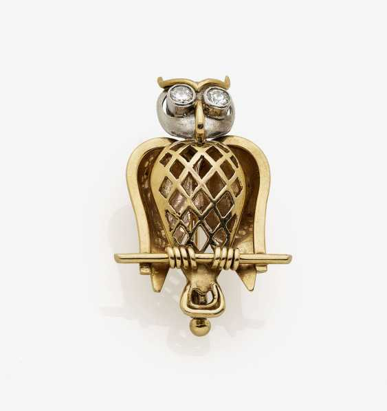 Owl-shaped brooch with brilliant-cut diamonds. USA, 1940s-1950s - photo 1