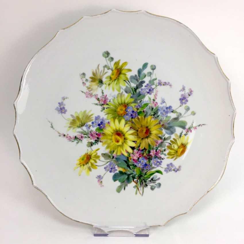 Great Anbietteller / large wall plate, Meissen, Teichert, flower Bouquet, 19. Century - photo 1