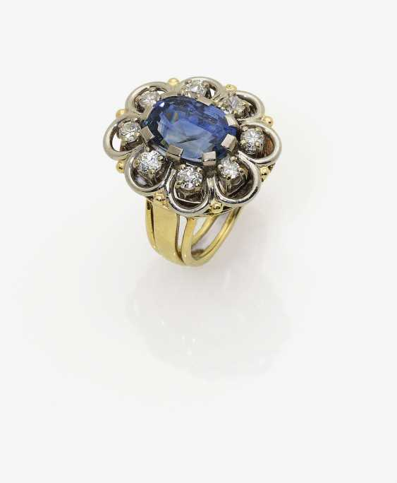 Ring with sapphire and diamonds. Germany, 1950s - photo 1