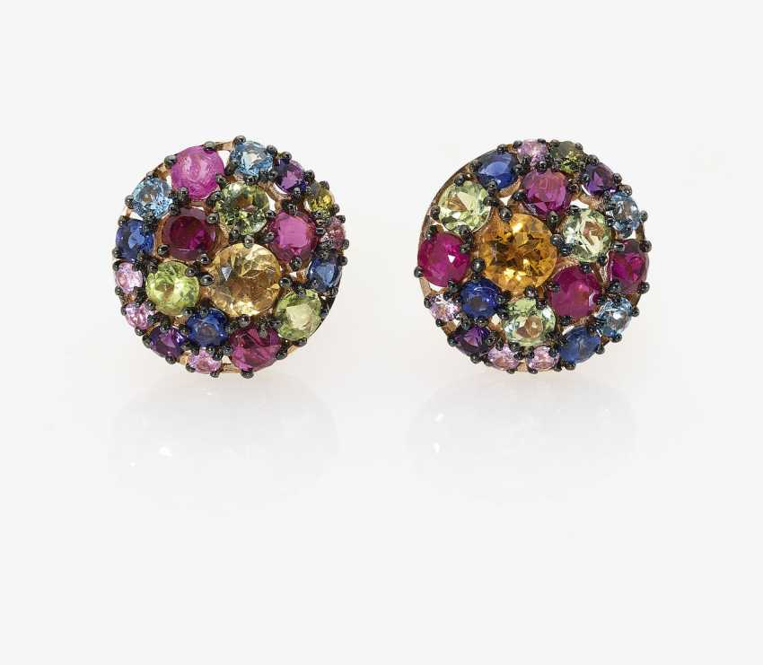 A Pair of stud pin plug stones with multi-colored color of precious. Germany, 2000s - photo 1
