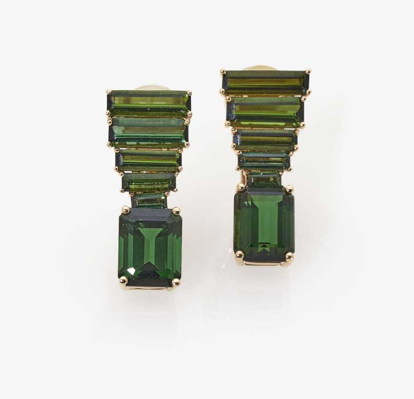 A Pair of stud pin clips with green tourmalines. Germany, 2000s - photo 1