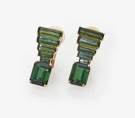 A Pair of stud pin clips with green tourmalines. Germany, 2000s - photo 2
