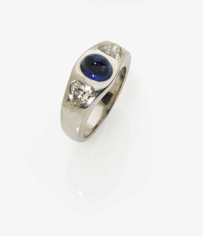 Band ring with sapphire and diamonds. Germany - photo 1
