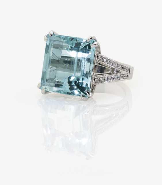 Classic aquamarine ring with diamonds. In Germany, 2015 - photo 1