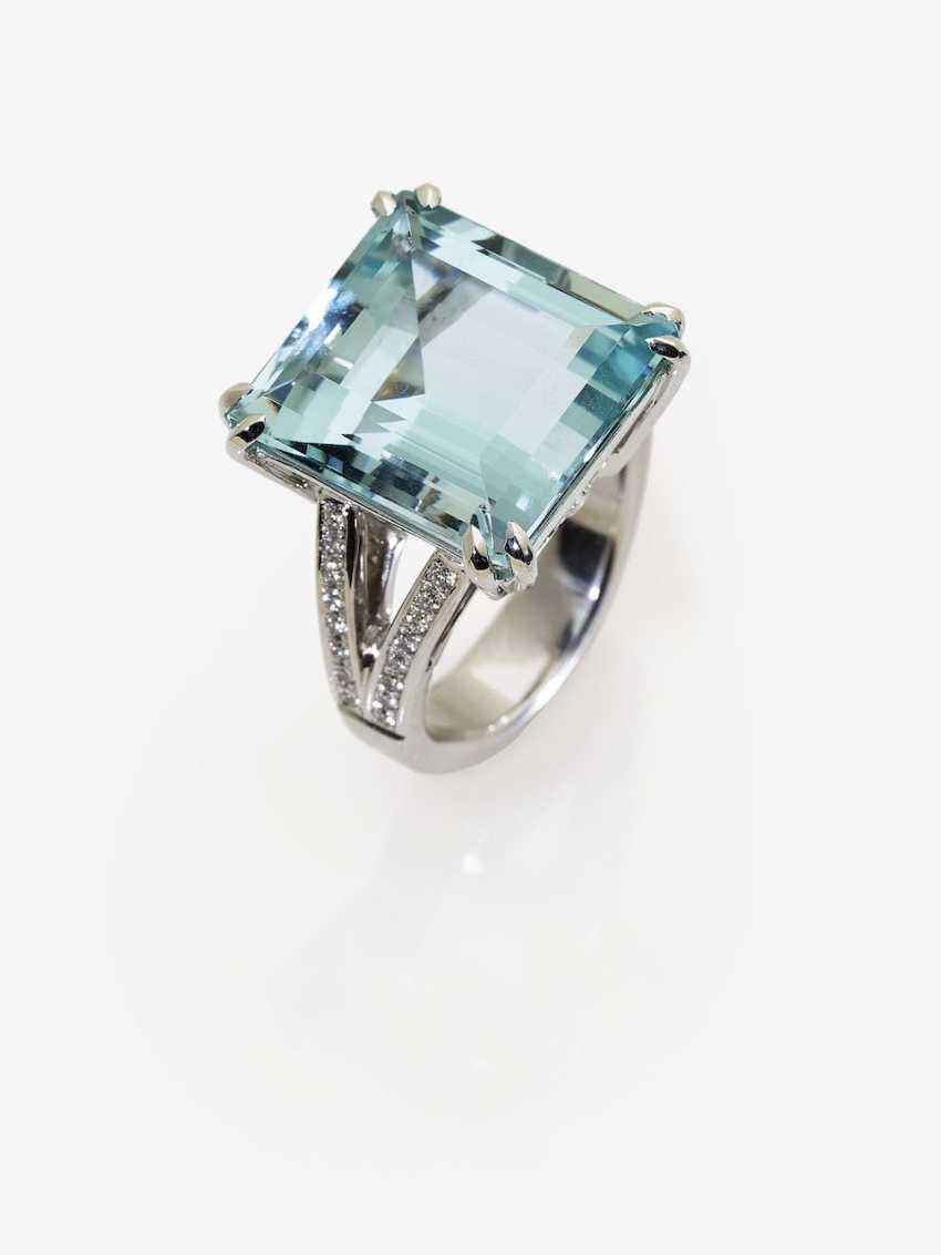 Classic aquamarine ring with diamonds. In Germany, 2015 - photo 2