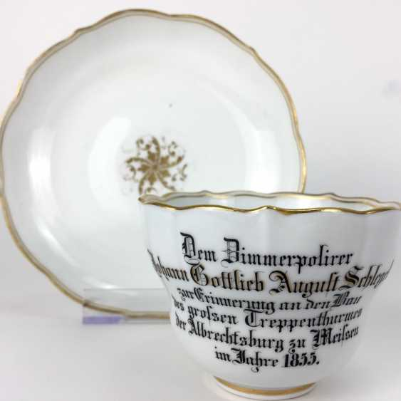Unique souvenir Cup / Plate, Meissen, gold edge, 1855, very good. - photo 1