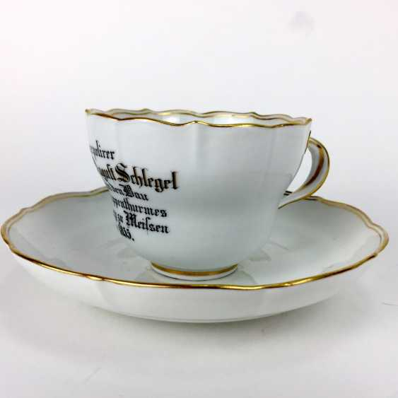 Unique souvenir Cup / Plate, Meissen, gold edge, 1855, very good. - photo 2