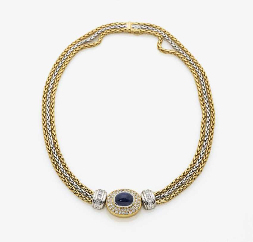 Necklace with sapphire and diamonds. Italy, 2. Half of the 20. Century - photo 1