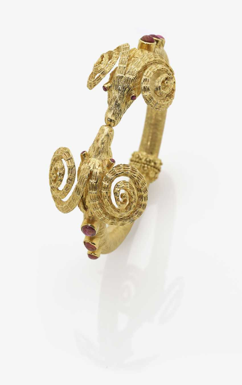 Bracelet with two RAM's heads and rubies. Greece - photo 1