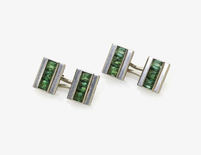 A Pair of cufflinks with tourmalines. Germany - photo 1