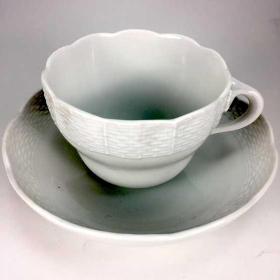 Place setting white, Meissen porcelain, Altozier / basket-edge, very good. - photo 1
