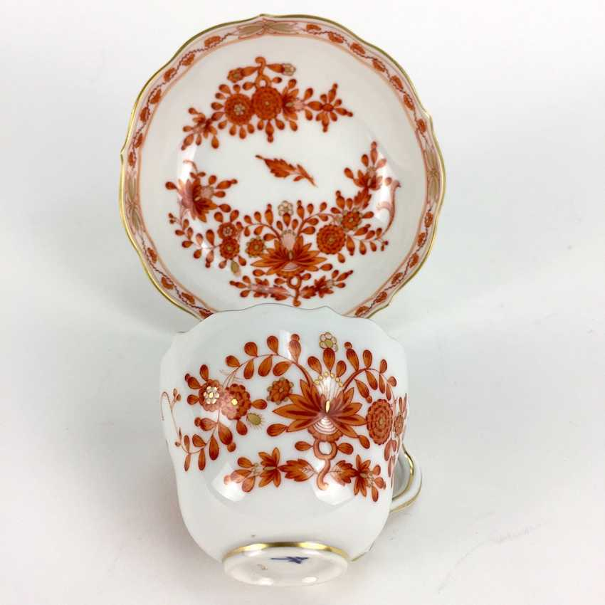 Mocha table Setting: Meissen porcelain, Indian painting in coral-red, very good. - photo 1
