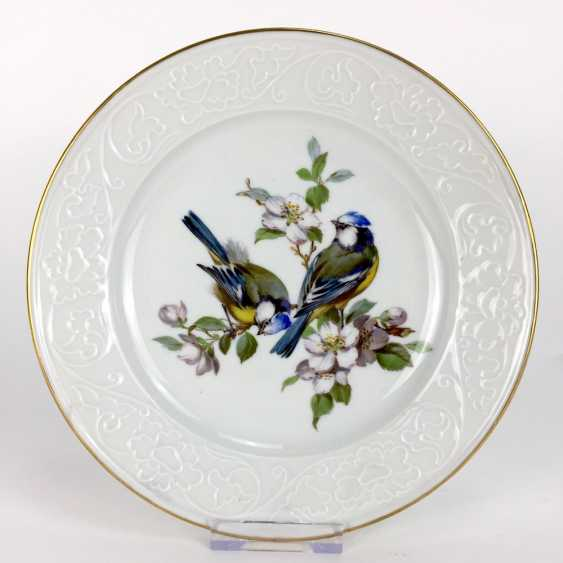 Institutional / wall plate: Meissen porcelain, bird painting Wallpapers, blue tit with Apple blossom, very good. - photo 1
