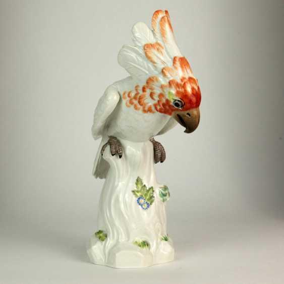 Great animal figurine, Meissen porcelain, cockatoo on tree stump, design J. J. Kaendler, circa 1920, rare. - photo 8