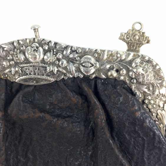 Handbag / evening bag: silver gear, silver 800, crown, half moon, art Nouveau, around 1900, very good. - photo 1