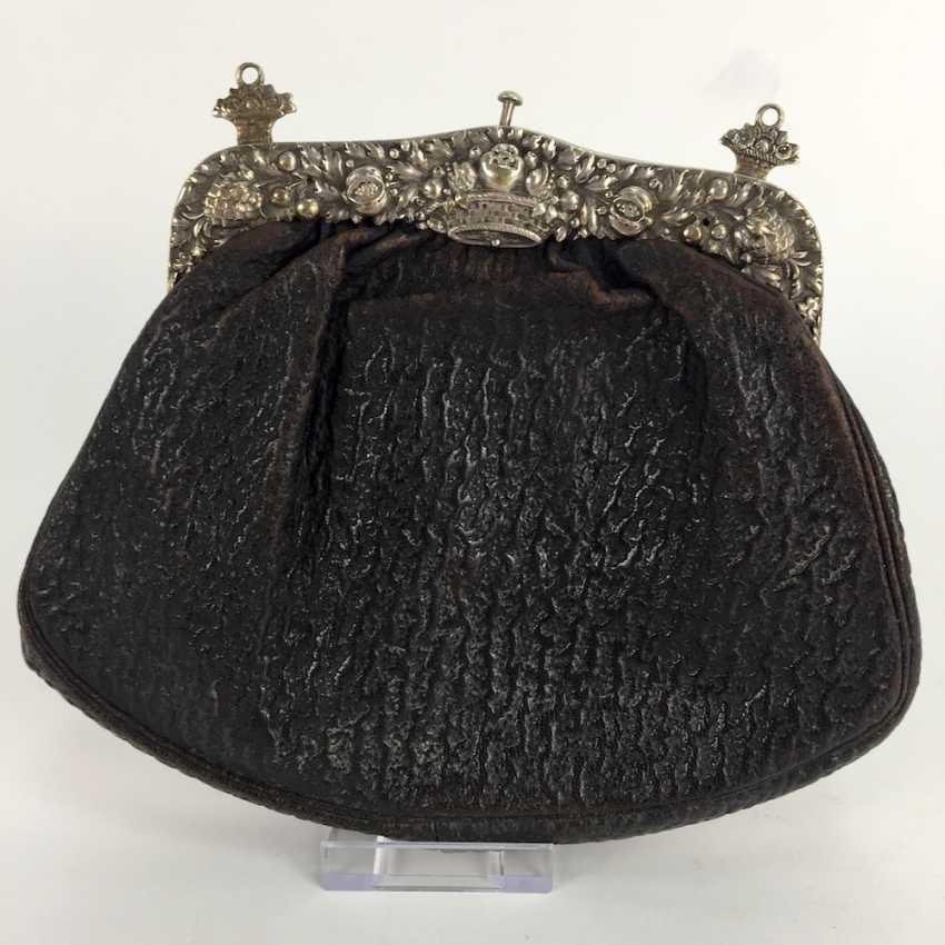Handbag / evening bag: silver gear, silver 800, crown, half moon, art Nouveau, around 1900, very good. - photo 2