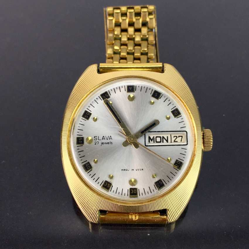 SLAVA: automatic watch / wristwatch automatic, 27 jewel, date + day display, modern housing forms, gold double. - photo 1