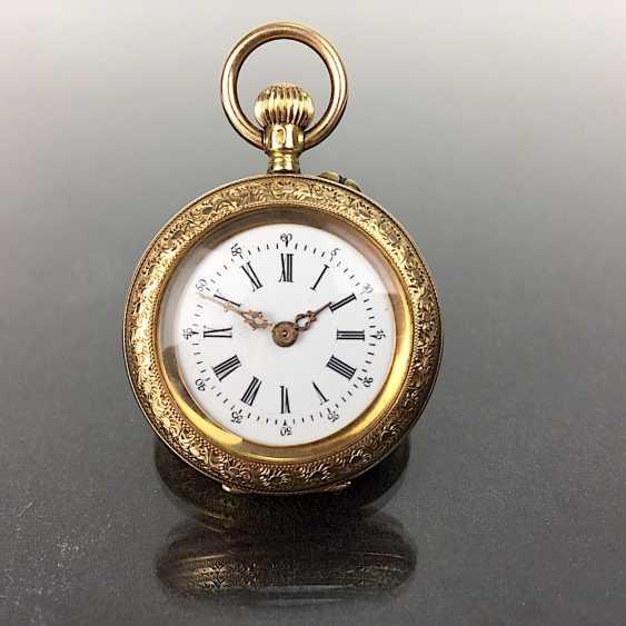 Ladies pocket watch, art Deco, art Nouveau, yellow gold 585 / 14 K, fine engraved, 1900. - photo 1