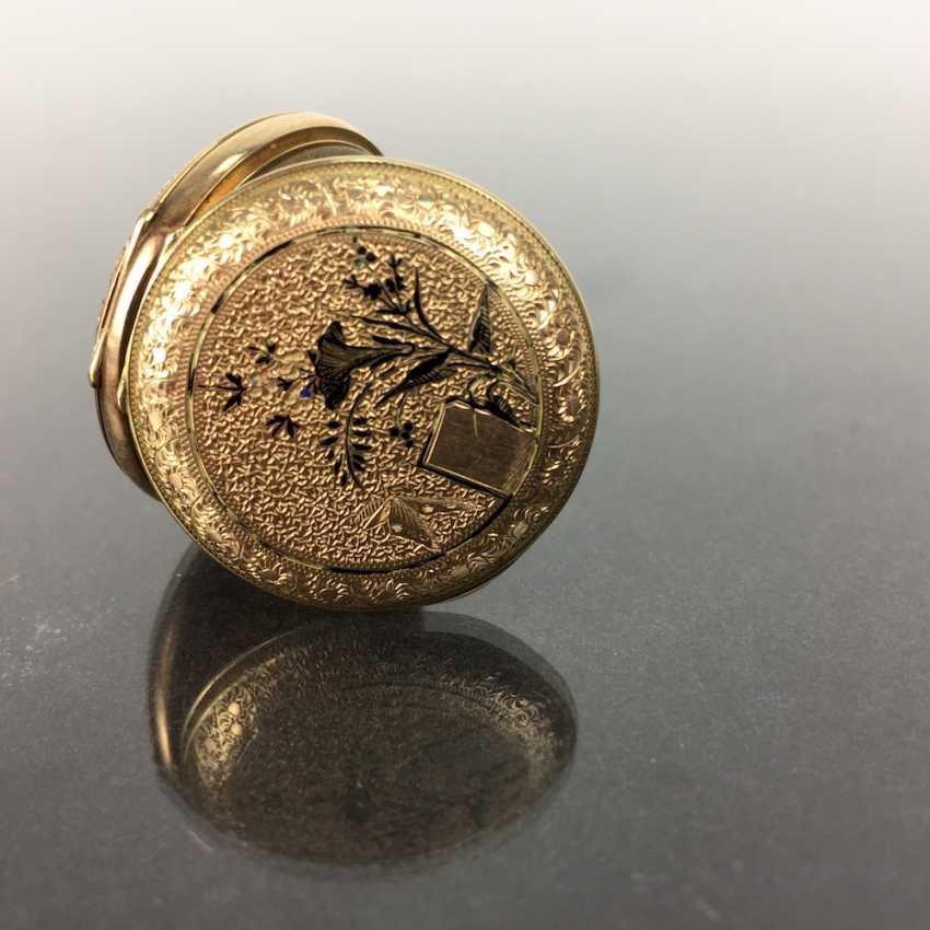 Ladies pocket watch, art Deco, art Nouveau, yellow gold 585 / 14 K, fine engraved, 1900. - photo 3