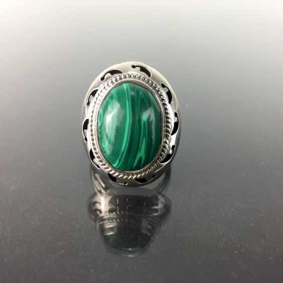 Opulent ladies ring with malachite, Sterling silver 925, very good conservation. - photo 1