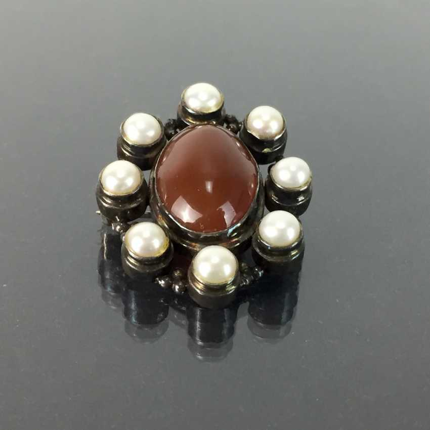 Pendant / brooch: carnelian and pearls in silver 925, antique style, very good conservation. - photo 1