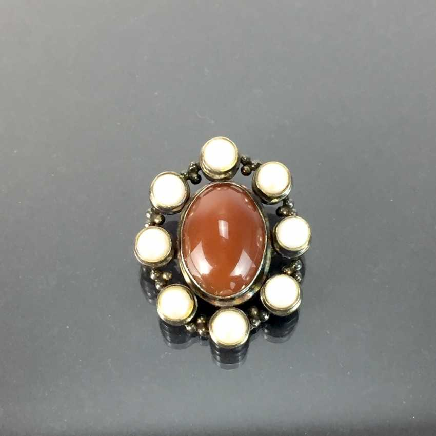 Pendant / brooch: carnelian and pearls in silver 925, antique style, very good conservation. - photo 2