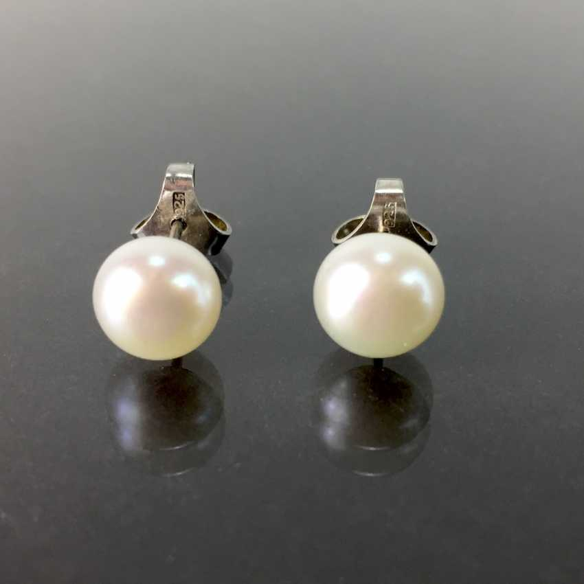 Pearl stud earrings: silver 925 rhodium plated, cream coloured chandelier, very elegant. - photo 1