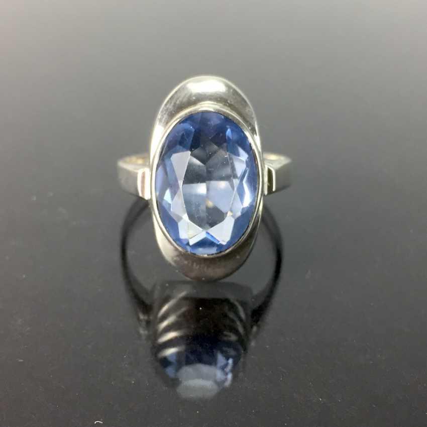 Women's ring: silver 835, Görlitzer Gold - and silversmiths, aquamarine, around 1930, very good condition. - photo 1