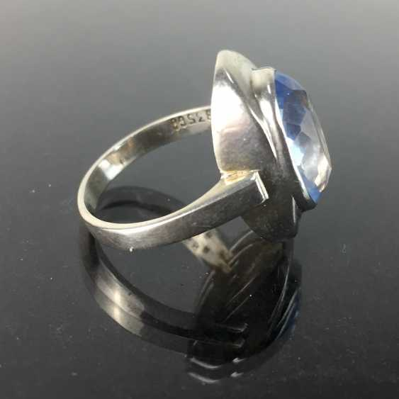 Women's ring: silver 835, Görlitzer Gold - and silversmiths, aquamarine, around 1930, very good condition. - photo 2