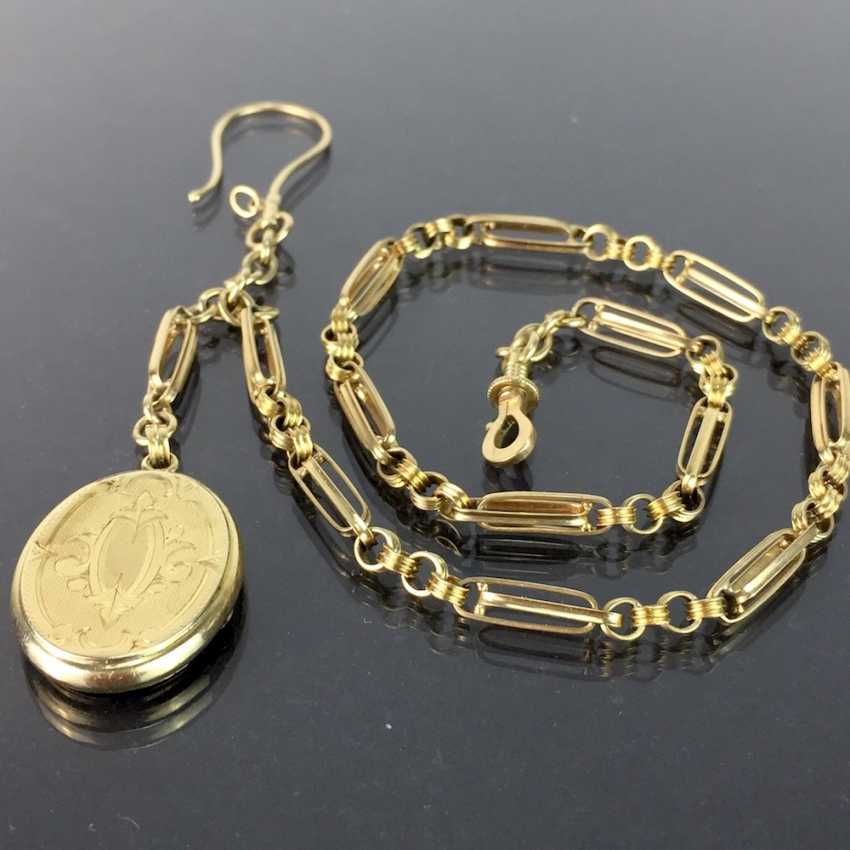 Watch chains / chain for pocket watch: yellow gold 585, worked with locket pendant, very beautiful. - photo 1