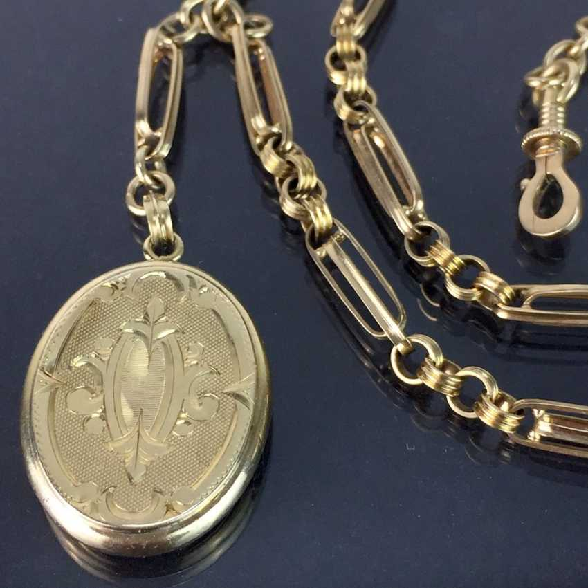 Watch chains / chain for pocket watch: yellow gold 585, worked with locket pendant, very beautiful. - photo 2