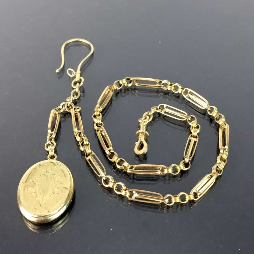 Watch chains / chain for pocket watch: yellow gold 585, worked with locket pendant, very beautiful. - photo 3