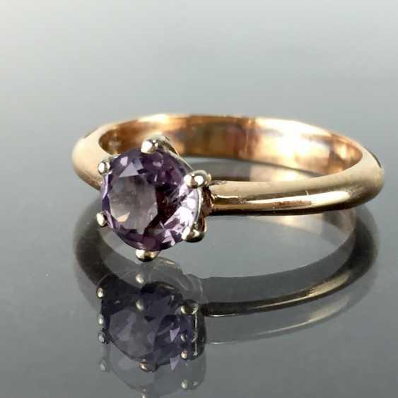 Elegant women's ring classic sterling silver ring: alexandrite 1.2 carat, Gold 750, Chaton version, very nice. - photo 1