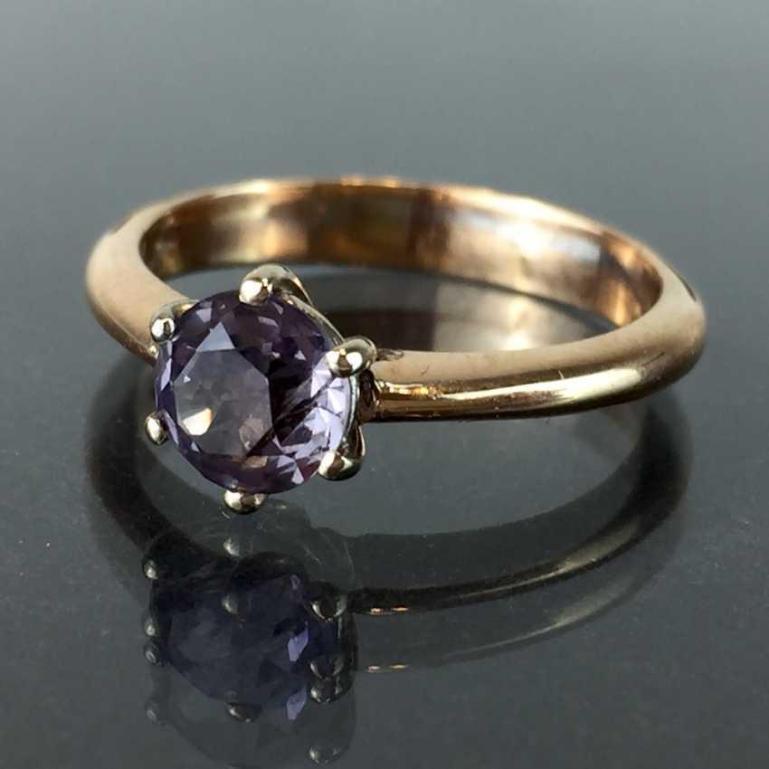 Elegant women's ring classic sterling silver ring: alexandrite 1.2 carat, Gold 750, Chaton version, very nice. - photo 2
