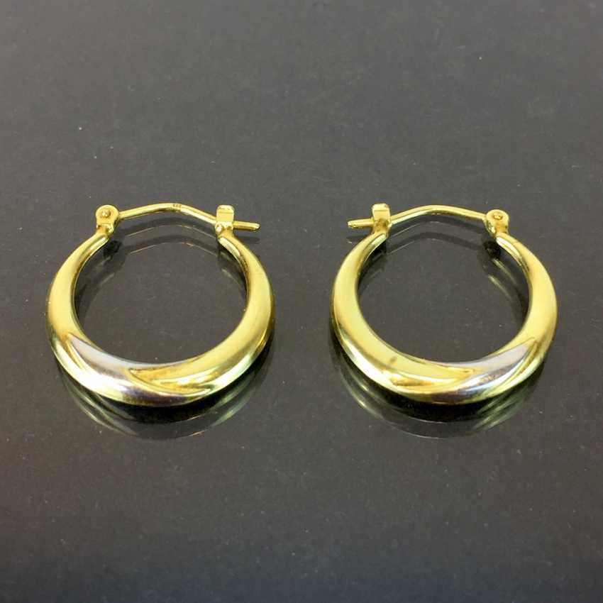 Hoop earrings, yellow gold and white gold 333, very good. - photo 1
