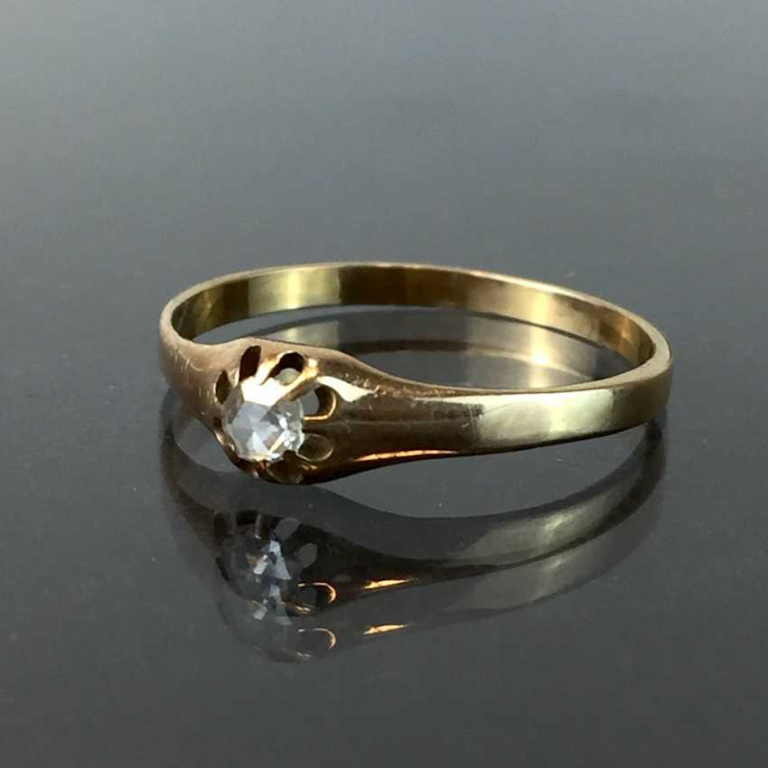 Ladies ring / locking ring: yellow gold 585, diamond, rose from approximately 0.25 carats, in prong setting, art Deco, art Nouveau, around 1900. - photo 1