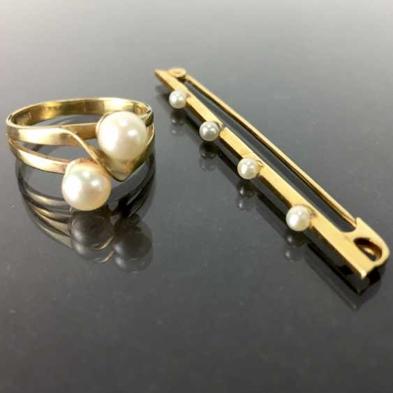 Ladies ring and a discreet bar brooch: yellow gold 585, and 333, both of which are busy with beads, very nice. - photo 1