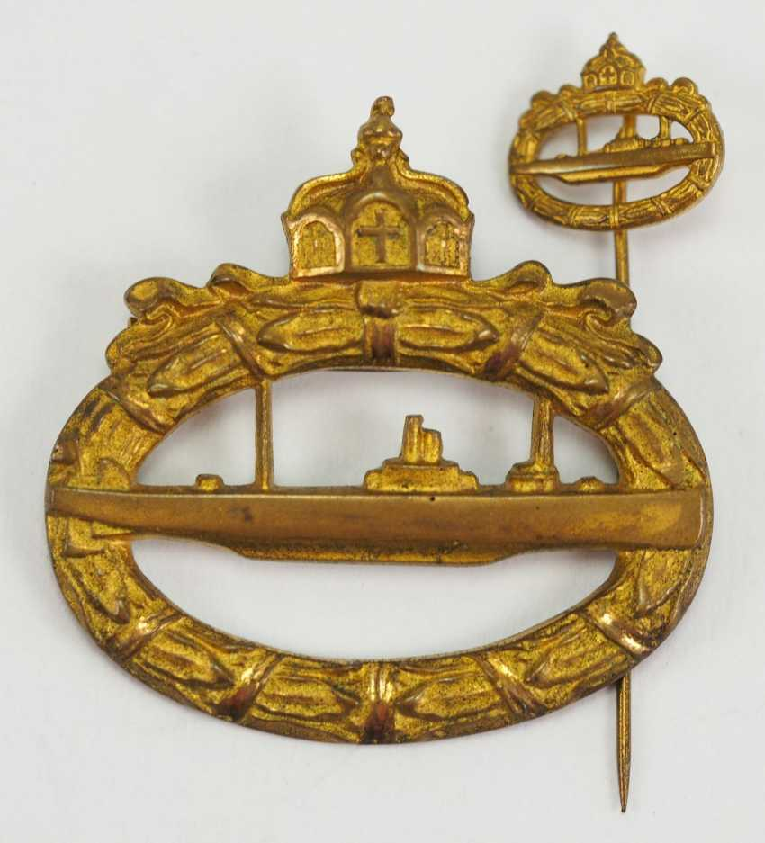 U-boat war badge, with miniature Meybauer. - photo 1