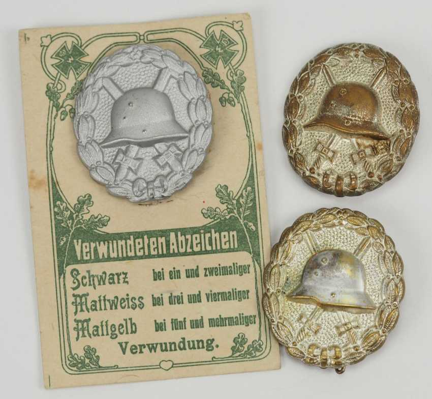 German Empire: Wounded Badge, 1918, Matte White, 3 Specimens. - photo 1