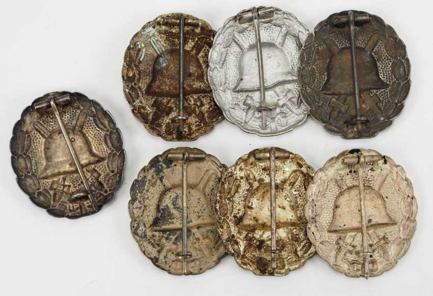 German Empire: Lot of 7 1918 wounded badges for the army, silver. - photo 2