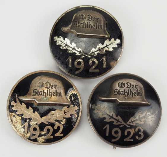 Veterans Association: Lot of 3 stahhelm Federal admission badge. - photo 1