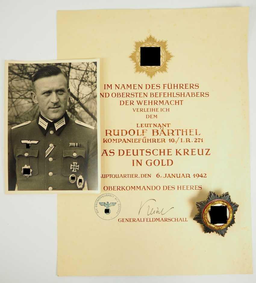 "German cross in Gold, with certificate of Lieutenant Rudolf Bärthel - commander of 10./ Infantry-Regiment 271 ""Feldherrnhalle"". - photo 1"
