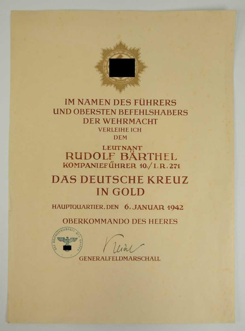 "German cross in Gold, with certificate of Lieutenant Rudolf Bärthel - commander of 10./ Infantry-Regiment 271 ""Feldherrnhalle"". - photo 5"