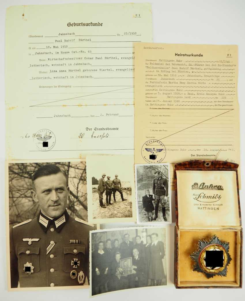 "German cross in Gold, with certificate of Lieutenant Rudolf Bärthel - commander of 10./ Infantry-Regiment 271 ""Feldherrnhalle"". - photo 6"