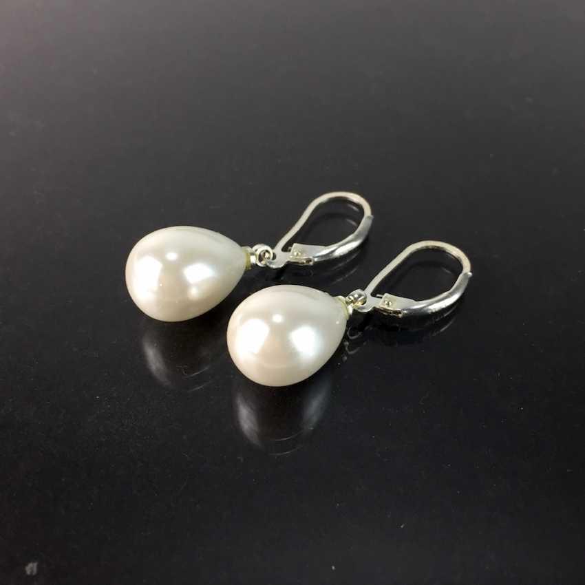 Pearl Drop Earrings, Silver 925 - photo 1