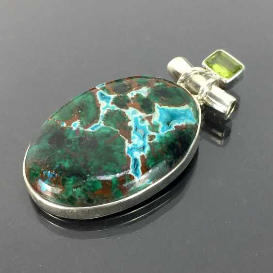 Opulent hand work pendant with malachite in chrysocolla and Peridot, 925 silver, very dokortiv. - photo 1
