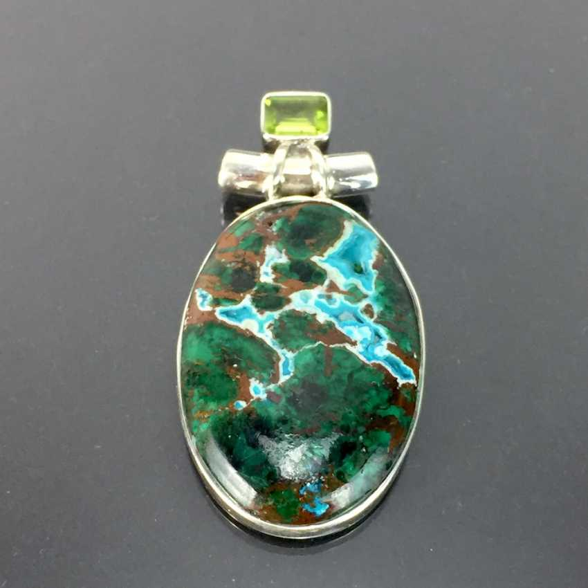 Opulent hand work pendant with malachite in chrysocolla and Peridot, 925 silver, very dokortiv. - photo 2
