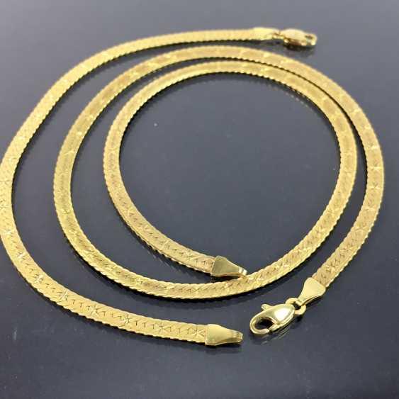 Elegantes SchmuckseTiefe: Collier und Armband, hochwertige Arbeit, Gelbgold 333, mattierte und verzierte Oberfläche. - photo 1