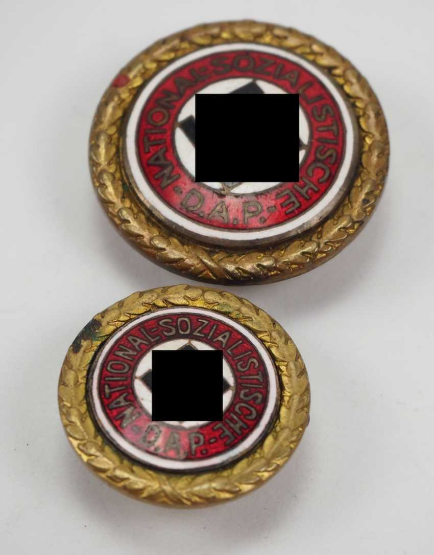 Golden of the Nazi party, a Large and Small version - number badge. - photo 2
