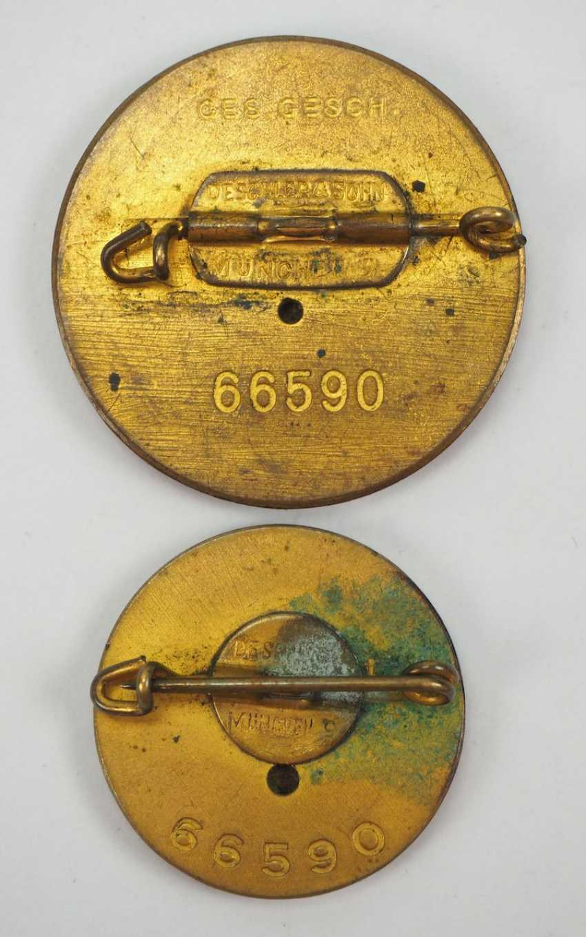 Golden of the Nazi party, a Large and Small version - number badge. - photo 3